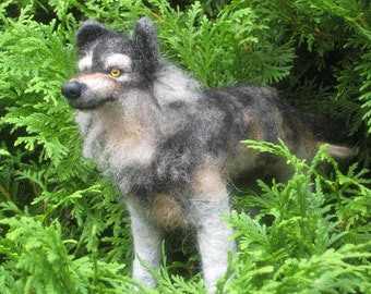Needle Felted Wolf Animal Sculpture by  Fiber Artist GERRY Poseable
