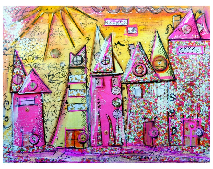 Art Print, Collage Work, Whimsical Houses,Blooming
