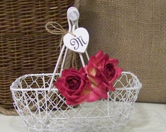 Flower Girl's Shabby Chic Wedding Basket - Paper Roses and Wood Initial Heart