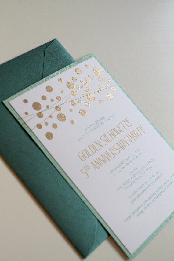 Items similar to Gold and Mint Wedding Invitations Confetti – Wedding Invitations Embossed