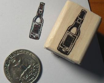 Beer bottle rubber stamp miniature P24