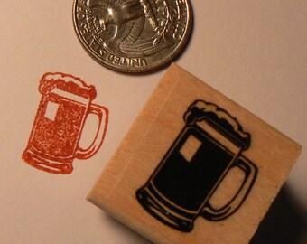 P24 Beer mug rubber stamp miniature