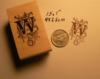 P22 Letter W monogram rubber stamp WM