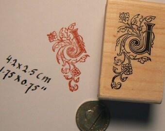 P41 Monogram J, Decorative Letter J Rubber Stamp