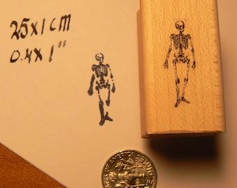 Miniature skeleton rubber stamp WM