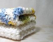 White and Multi Color Cotton Wash Cloths / Dish Cloths, Green, Blue, Yellow, Handmade Crochet Washcloths / Dishcloths, Eco Friendly