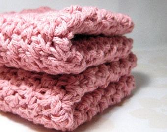 Rose Pink Crochet Washcloths, Cotton Crocheted Dish Cloths