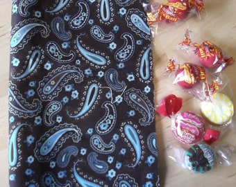Reusable cloth snack bag - Teal Paisley on Brown also use for tea first aid cosmetics jewelry