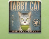 Tabby Cat Coffee Company graphic artwork giclee archival signed artist's print by Stephen Fowler