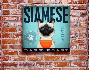Siamese Cat Coffee company graphic illustration art on gallery wrapped canvas by stephen fowler