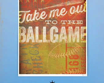 Take me out to the ballgame Baseball art giclee archival signed artist's print by stephen fowler Pick A Size