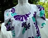 Cute Hawaiian Muu Muu in a Mod 50/50 blend fabric Cute Trad print is crisp and bright As New Never Worn