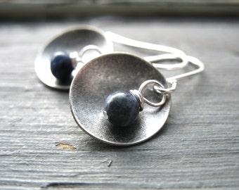 Sodalite Earrings, Silver Dome Metalwork Gemstone Dangle Drop Earrings, Blue Sodalite Birthstone Jewelry