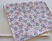 CLOSEOUT SALE - Eco Collection Burp Cloth - Pink Bicycles