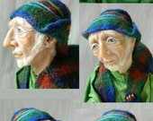 Old Man with Fire Dragon OOAK sculpture Art Doll