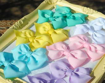 Pastel Pigtail Hair Bow Collection - Spring Colors Hairbow Set - Easter Pinwheel Bow Pair - Set of 12 Pretty Bows - February BOW BUNDLE Pack