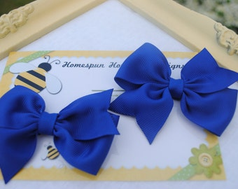 Cobalt Blue Bows - Set of Two Hair Bows - Patriotic Hairbow Set - 3 Inch Hair Clip - Toddler Hair Bows - Matching Hairbows - 4th of July BBQ