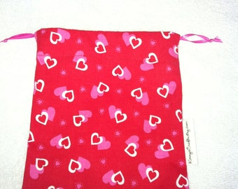 Drawstring Pouch-Pink & White Hearts on Red (DSP 60)