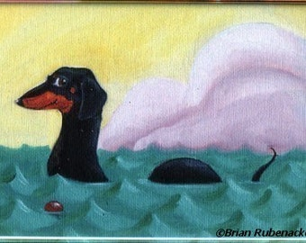 Dachshund dach-ness monster dog art magnet