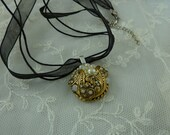 Vintage Earring upcycled Necklace 2 Strand Black Cord & Ribbon