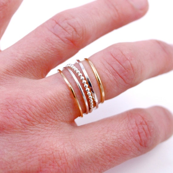 Stacking Rings, Set of 5 - 2 Tone, 14k Gold-Filled & Sterling Silver