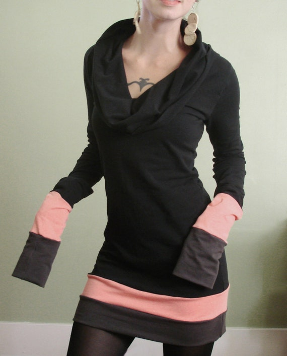 cowl tunic dress extra long sleeves Black/Peach/Cement
