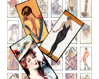 Vintage Magazine Cover Art Digital Collage Sheet Printable Instant Download for altered art domino pendants tags glass tile jewelry