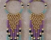 SALE - Seed Bead Chain Hoop Earrrings - Purple/Baby Blue