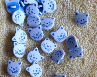 White and Blue Cat Head buttons, 14mm x 3