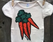 Orange Carrots Hand Silkscreened Organic Infant One Piece