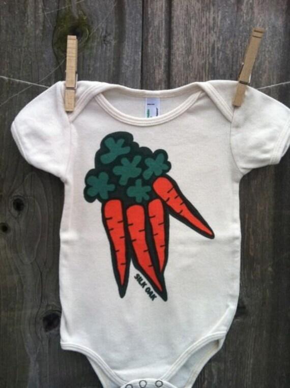 Orange Carrots Hand Silkscreened Organic Infant One Piece