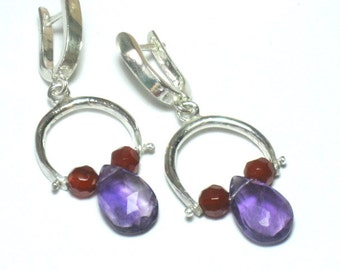 Amethyst Earrings, Purple Earrings, Amethyst Drops, Silver Amethyst Earrings, Silver Drop Earrings, Gemstone Earrings, Amethyst Red Agate
