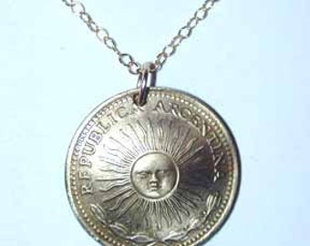 Coin necklace-Argentina golden Sol necklace-free shipping