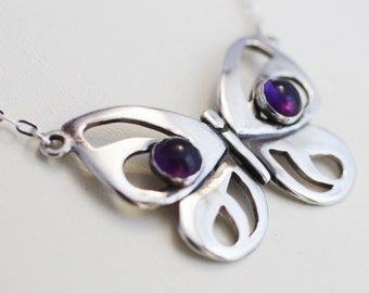 Modern Sterling Silver Butterfly Necklace with Amethyst, Nature Inspired Jewelry