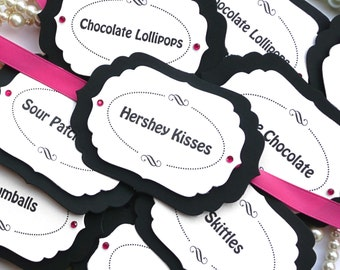Candy Buffet Tags, Pink Candy Buffet Tags, Black and White Candy Buffet, Pink Gift Tags, Wedding Favor Tags