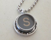 Typewriter Key Pendant Necklace the letter S, ALL Letters Available