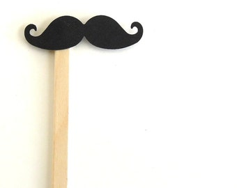 The Black Mustache On A Stick - Set of 5 Mustache Photo Props