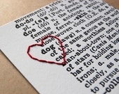 I Heart Dog: letterpress print, hand embroidered with red thread heart