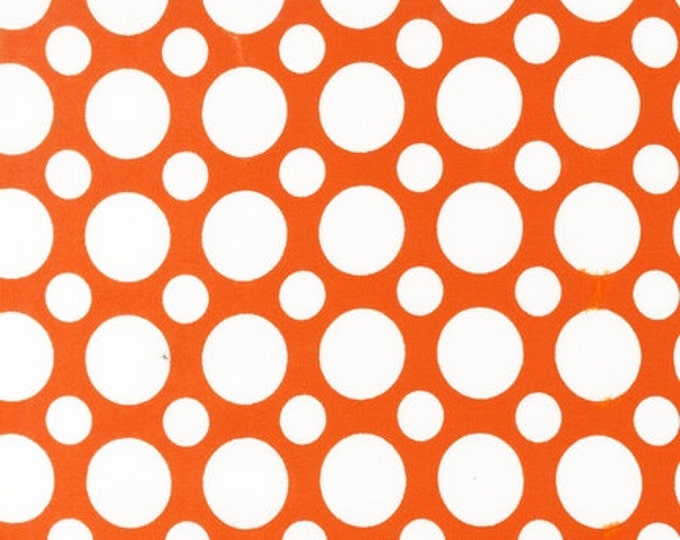 Cotton Fabric, Orange Fabric, Spot On Polka Dot fabric by Robert Kaufman- Spot on Large Dot in Tangerine, Yardage, Free Shipping Available