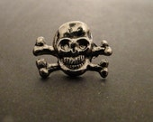 RIVETS - SKuLL and BONES Snap Rivets - 6mm - Quantity 8 - use with leather bracelets and rectangle bracelet blanks