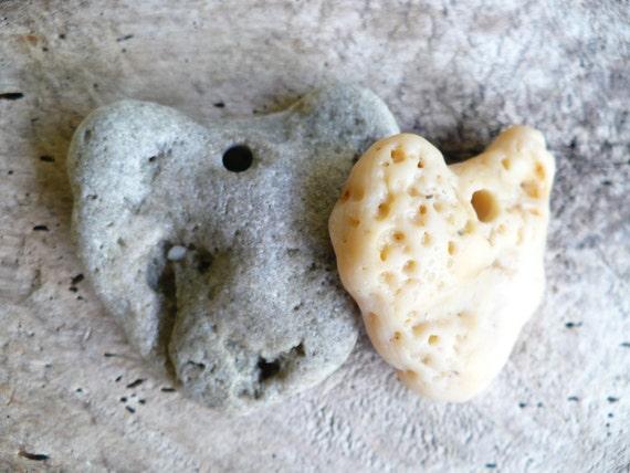 STONE HEARTS...6 hand drilled beach stones - one heart - tribal- love wedding pebble earth nature