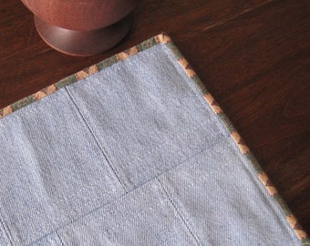 Quilted denim table runner, place mat, vintage fabric, light blue, reversible. 17 x 8.5.
