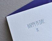 """Letterpress """"Happy Pi Day."""" Geeky Greeting Card with Envelope"""