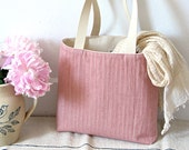 Pink Cotton Herringbone Tote