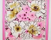 VERA Neumann Vintage Silk Floral Hand Rolled Large Signed Scarf - nicolasvintage