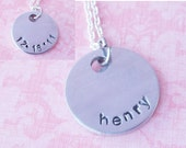 Two Sided  Handstamped Name and Date Necklace
