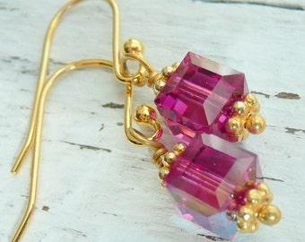 SALE Handcrafted OOAK Pink Fuschia Swarovski Crystal Cube Gold Vermeil Boho Hippie Minimalist Beach Dangle Earrings