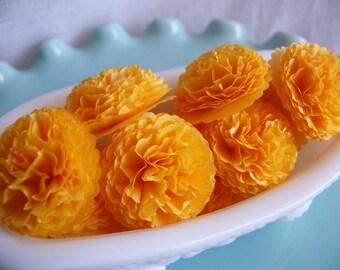 Tissue Paper Flowers Button Mums  1 inch Yellow Goldenrod Wedding, Bridal Shower, Baby Shower Decor