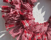 Bright Red Gingham Check Small Rag Wreath, Fall Christmas  Homespun fabric, Rustic Christmas Wreath, Bright Color