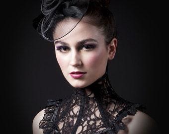 Victorian Black Lace Neck Corset